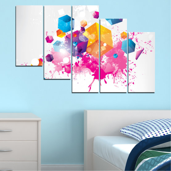 Canvas prints & wall decorative panels - 5 pieces №0370 » Pink, Yellow, Gray, White, Milky pink » Abstraction, Colorful, Cube Form #7