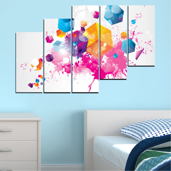Canvas prints & wall decorative panels - 5 pieces №0370 » Pink, Yellow, Gray, White, Milky pink » Abstraction, Colorful, Cube Form #8