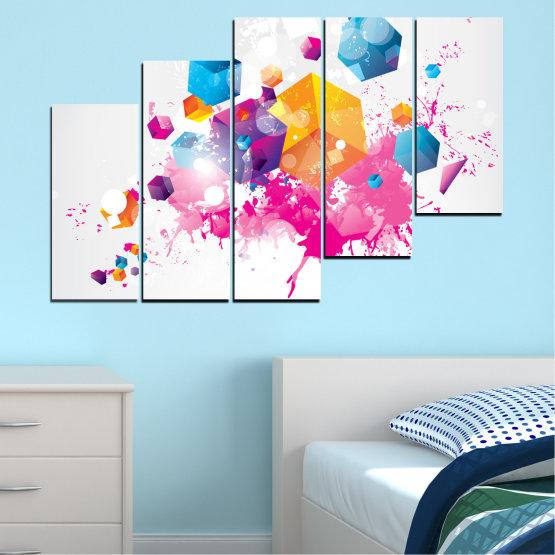 Декоративни панели и картини от канава - от 5 части №0370 » Розов, Жълт, Сив, Бял, Млечно розов » Абстракция, Цветен, Куб Form #8