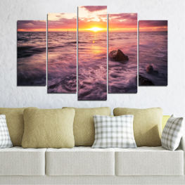 Landscape, Sea, Water, Sun, Sunrise » Brown, Black, Gray, Beige, Dark grey