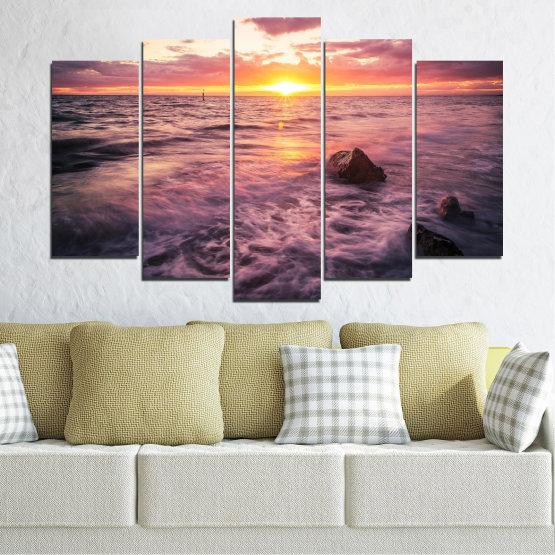 Canvas prints & wall decorative panels - 5 pieces №0371 » Brown, Black, Gray, Beige, Dark grey » Landscape, Sea, Water, Sun, Sunrise Form #1