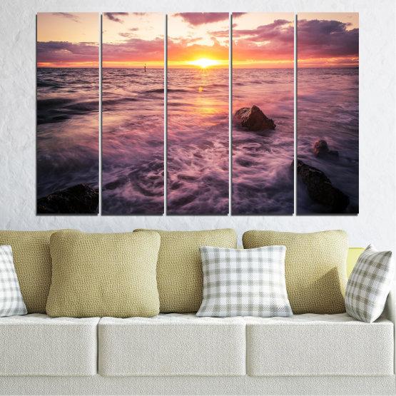 Canvas prints & wall decorative panels - 5 pieces №0371 » Brown, Black, Gray, Beige, Dark grey » Landscape, Sea, Water, Sun, Sunrise Form #2