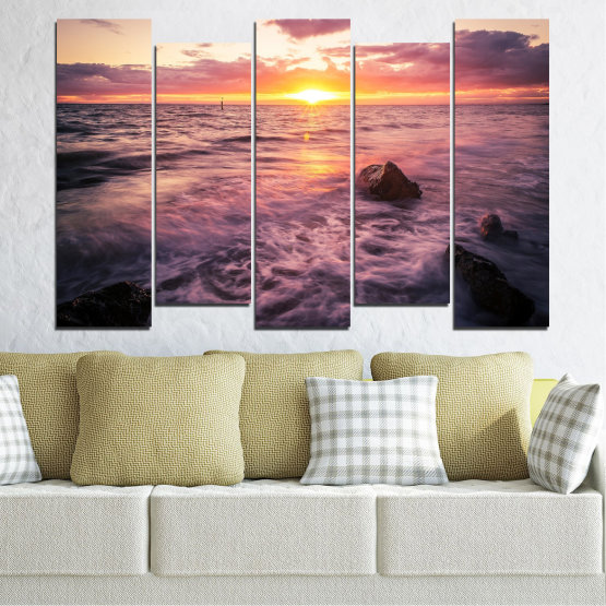 Canvas prints & wall decorative panels - 5 pieces №0371 » Brown, Black, Gray, Beige, Dark grey » Landscape, Sea, Water, Sun, Sunrise Form #3