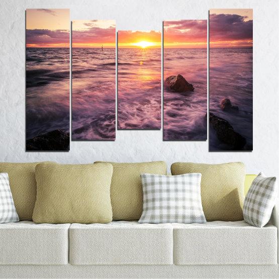 Canvas prints & wall decorative panels - 5 pieces №0371 » Brown, Black, Gray, Beige, Dark grey » Landscape, Sea, Water, Sun, Sunrise Form #4