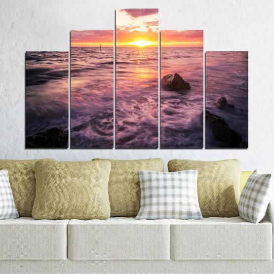 Canvas prints & wall decorative panels - 5 pieces №0371 » Brown, Black, Gray, Beige, Dark grey » Landscape, Sea, Water, Sun, Sunrise Form #5