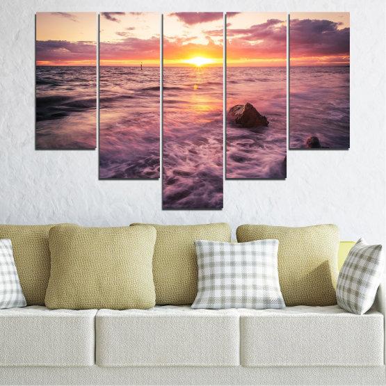 Canvas prints & wall decorative panels - 5 pieces №0371 » Brown, Black, Gray, Beige, Dark grey » Landscape, Sea, Water, Sun, Sunrise Form #6