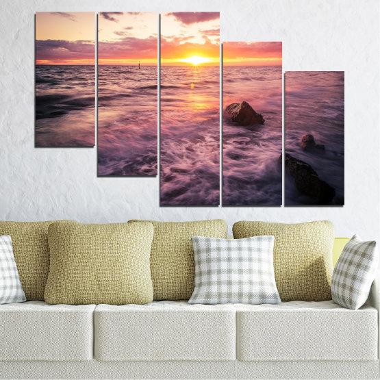 Canvas prints & wall decorative panels - 5 pieces №0371 » Brown, Black, Gray, Beige, Dark grey » Landscape, Sea, Water, Sun, Sunrise Form #7