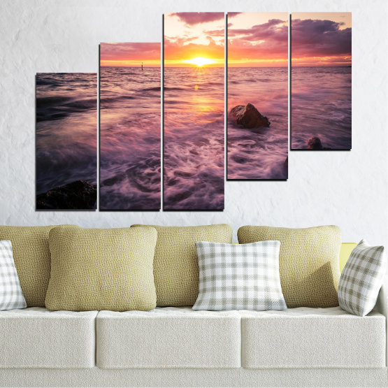 Canvas prints & wall decorative panels - 5 pieces №0371 » Brown, Black, Gray, Beige, Dark grey » Landscape, Sea, Water, Sun, Sunrise Form #8