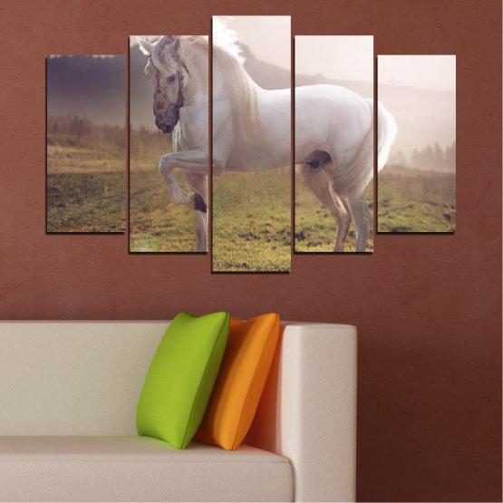 Εκτύπωση σε καμβά και διακοσμητικά πάνελ τοίχου - 5 τεμάχια №0372 » Καστανός, Γκρί, Άσπρο, Σκούρο γκρι » Ζώο, Άλογο, Πορτρέτο Form #1