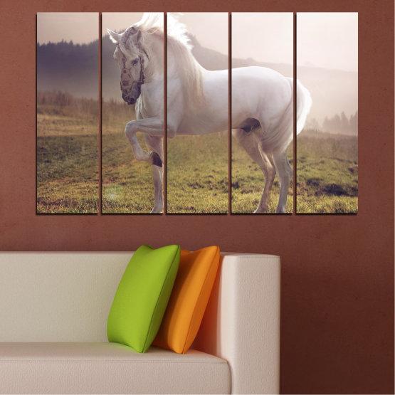 Εκτύπωση σε καμβά και διακοσμητικά πάνελ τοίχου - 5 τεμάχια №0372 » Καστανός, Γκρί, Άσπρο, Σκούρο γκρι » Ζώο, Άλογο, Πορτρέτο Form #2