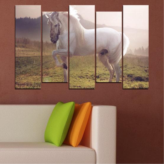 Εκτύπωση σε καμβά και διακοσμητικά πάνελ τοίχου - 5 τεμάχια №0372 » Καστανός, Γκρί, Άσπρο, Σκούρο γκρι » Ζώο, Άλογο, Πορτρέτο Form #3