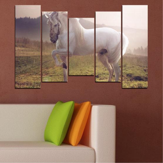Εκτύπωση σε καμβά και διακοσμητικά πάνελ τοίχου - 5 τεμάχια №0372 » Καστανός, Γκρί, Άσπρο, Σκούρο γκρι » Ζώο, Άλογο, Πορτρέτο Form #4
