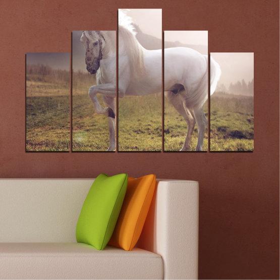 Εκτύπωση σε καμβά και διακοσμητικά πάνελ τοίχου - 5 τεμάχια №0372 » Καστανός, Γκρί, Άσπρο, Σκούρο γκρι » Ζώο, Άλογο, Πορτρέτο Form #5
