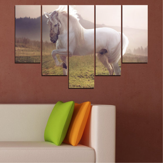 Εκτύπωση σε καμβά και διακοσμητικά πάνελ τοίχου - 5 τεμάχια №0372 » Καστανός, Γκρί, Άσπρο, Σκούρο γκρι » Ζώο, Άλογο, Πορτρέτο Form #6