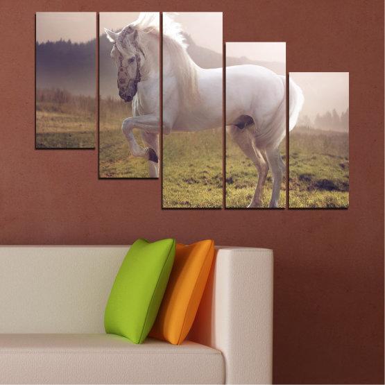 Εκτύπωση σε καμβά και διακοσμητικά πάνελ τοίχου - 5 τεμάχια №0372 » Καστανός, Γκρί, Άσπρο, Σκούρο γκρι » Ζώο, Άλογο, Πορτρέτο Form #7