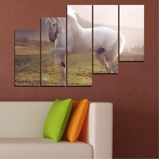 Εκτύπωση σε καμβά και διακοσμητικά πάνελ τοίχου - 5 τεμάχια №0372 » Καστανός, Γκρί, Άσπρο, Σκούρο γκρι » Ζώο, Άλογο, Πορτρέτο Form #8