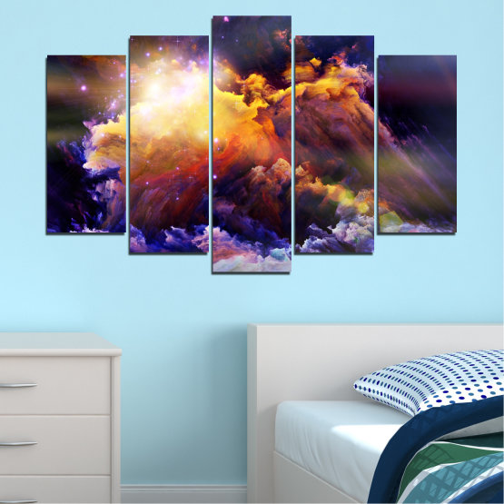 Canvas prints & wall decorative panels - 5 pieces №0373 » Purple, Brown, Black, Gray, Dark grey » Abstraction, Space, Star Form #1