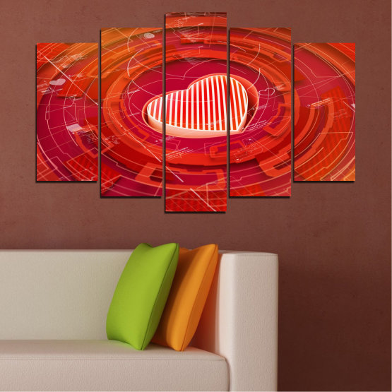 Canvas prints & wall decorative panels - 5 pieces №0374 » Red, Orange, White » Abstraction, Heart, Circle Form #1