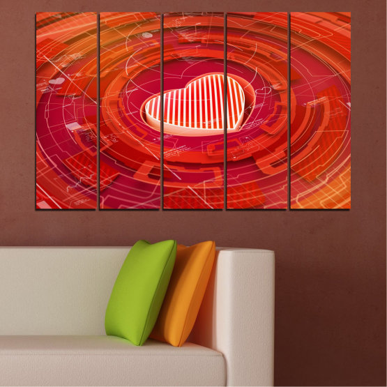 Canvas prints & wall decorative panels - 5 pieces №0374 » Red, Orange, White » Abstraction, Heart, Circle Form #2