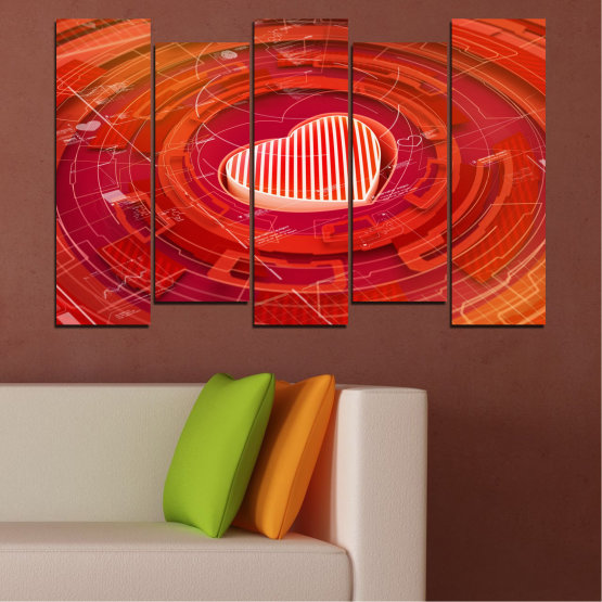 Canvas prints & wall decorative panels - 5 pieces №0374 » Red, Orange, White » Abstraction, Heart, Circle Form #3