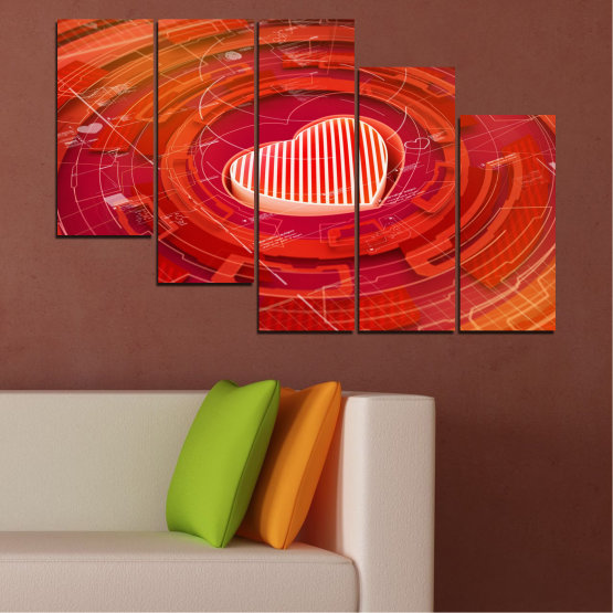 Canvas prints & wall decorative panels - 5 pieces №0374 » Red, Orange, White » Abstraction, Heart, Circle Form #7