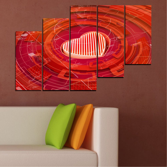 Canvas prints & wall decorative panels - 5 pieces №0374 » Red, Orange, White » Abstraction, Heart, Circle Form #8