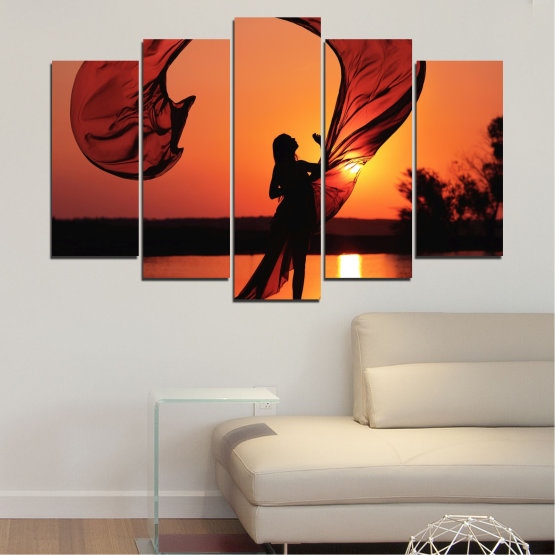 Canvas prints & wall decorative panels - 5 pieces №0375 » Red, Orange, Black » Woman, Sunset, Sun, Summer, Shadow Form #1