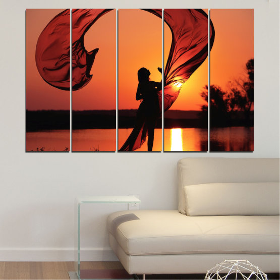 Canvas prints & wall decorative panels - 5 pieces №0375 » Red, Orange, Black » Woman, Sunset, Sun, Summer, Shadow Form #2