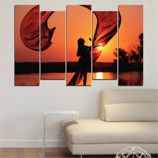 Canvas prints & wall decorative panels - 5 pieces №0375 » Red, Orange, Black » Woman, Sunset, Sun, Summer, Shadow Form #3