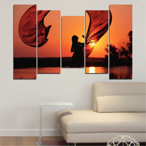 Canvas prints & wall decorative panels - 5 pieces №0375 » Red, Orange, Black » Woman, Sunset, Sun, Summer, Shadow Form #4