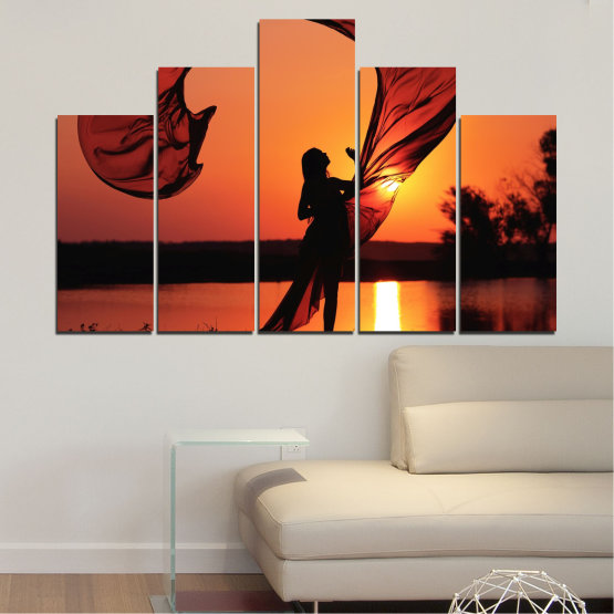 Canvas prints & wall decorative panels - 5 pieces №0375 » Red, Orange, Black » Woman, Sunset, Sun, Summer, Shadow Form #5