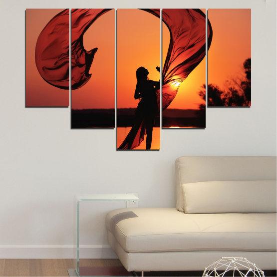 Декоративни панели и картини от канава - от 5 части №0375 » Червен, Оранжев, Черен » Жена, Слънце, Залез, Лято, Сянка Form #6