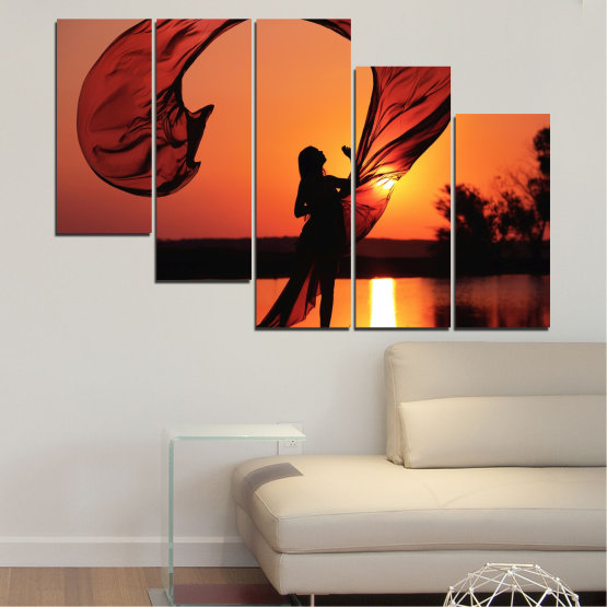 Canvas prints & wall decorative panels - 5 pieces №0375 » Red, Orange, Black » Woman, Sunset, Sun, Summer, Shadow Form #7