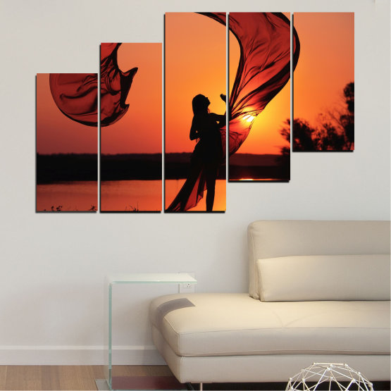 Canvas prints & wall decorative panels - 5 pieces №0375 » Red, Orange, Black » Woman, Sunset, Sun, Summer, Shadow Form #8