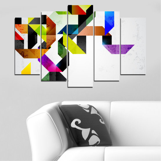 Canvas prints & wall decorative panels - 5 pieces №0376 » Yellow, Black, Gray, White, Dark grey » Abstraction, Colorful, Lines Form #1