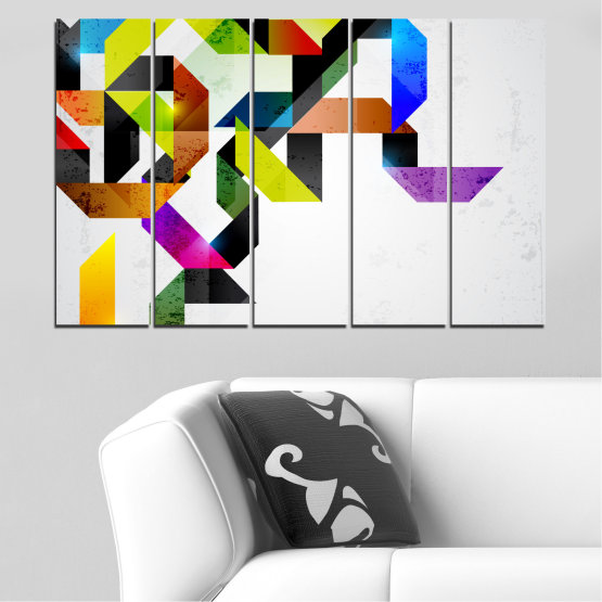 Canvas prints & wall decorative panels - 5 pieces №0376 » Yellow, Black, Gray, White, Dark grey » Abstraction, Colorful, Lines Form #2