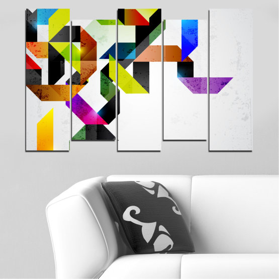 Canvas prints & wall decorative panels - 5 pieces №0376 » Yellow, Black, Gray, White, Dark grey » Abstraction, Colorful, Lines Form #3
