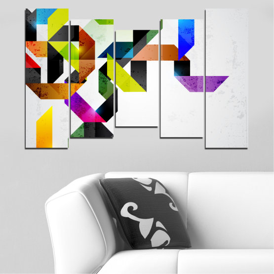 Canvas prints & wall decorative panels - 5 pieces №0376 » Yellow, Black, Gray, White, Dark grey » Abstraction, Colorful, Lines Form #4