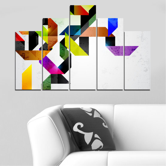 Canvas prints & wall decorative panels - 5 pieces №0376 » Yellow, Black, Gray, White, Dark grey » Abstraction, Colorful, Lines Form #5