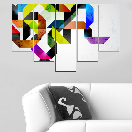 Canvas prints & wall decorative panels - 5 pieces №0376 » Yellow, Black, Gray, White, Dark grey » Abstraction, Colorful, Lines Form #6