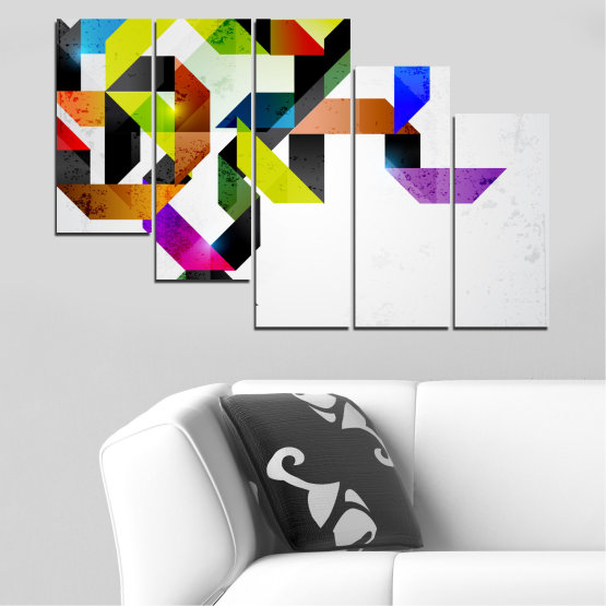 Canvas prints & wall decorative panels - 5 pieces №0376 » Yellow, Black, Gray, White, Dark grey » Abstraction, Colorful, Lines Form #7