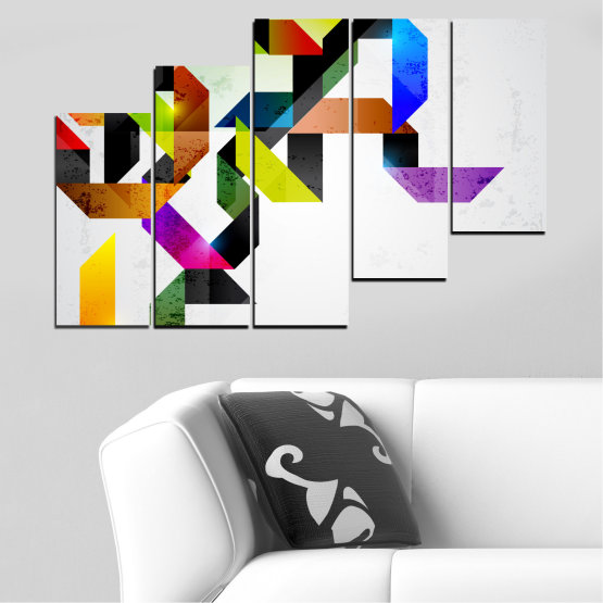 Canvas prints & wall decorative panels - 5 pieces №0376 » Yellow, Black, Gray, White, Dark grey » Abstraction, Colorful, Lines Form #8