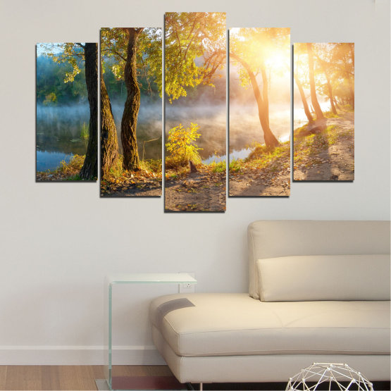 Canvas prints & wall decorative panels - 5 pieces №0379 » Brown, Black, Gray, Beige, Dark grey » Nature, Landscape, Water, Sun, Tree Form #1