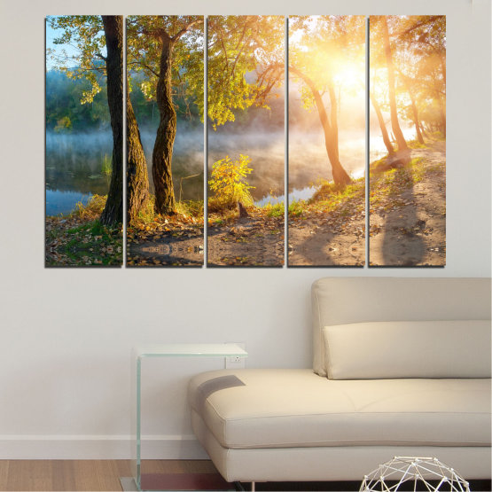 Canvas prints & wall decorative panels - 5 pieces №0379 » Brown, Black, Gray, Beige, Dark grey » Nature, Landscape, Water, Sun, Tree Form #2