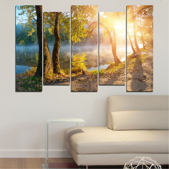 Canvas prints & wall decorative panels - 5 pieces №0379 » Brown, Black, Gray, Beige, Dark grey » Nature, Landscape, Water, Sun, Tree Form #3