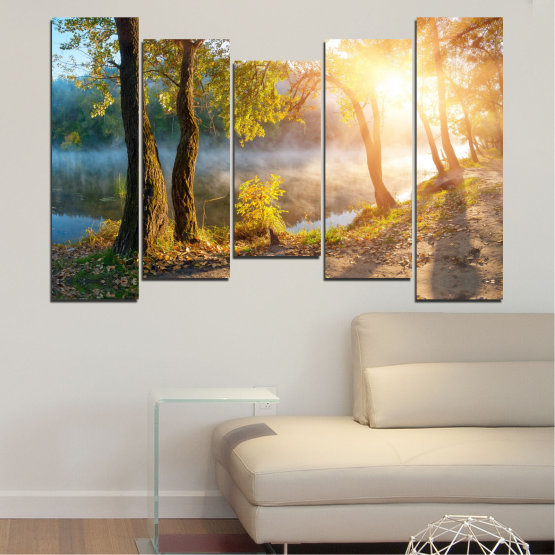 Canvas prints & wall decorative panels - 5 pieces №0379 » Brown, Black, Gray, Beige, Dark grey » Nature, Landscape, Water, Sun, Tree Form #4