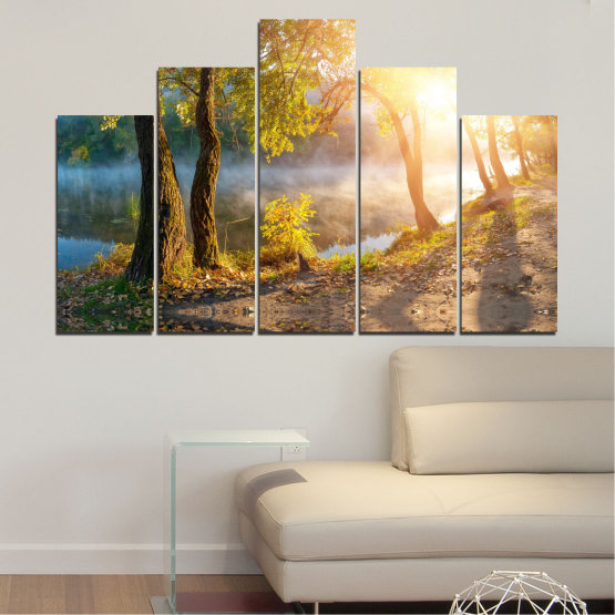 Canvas prints & wall decorative panels - 5 pieces №0379 » Brown, Black, Gray, Beige, Dark grey » Nature, Landscape, Water, Sun, Tree Form #5