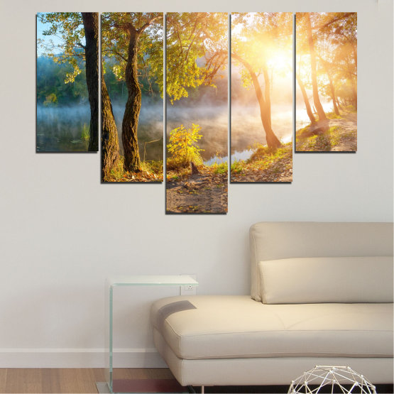 Canvas prints & wall decorative panels - 5 pieces №0379 » Brown, Black, Gray, Beige, Dark grey » Nature, Landscape, Water, Sun, Tree Form #6