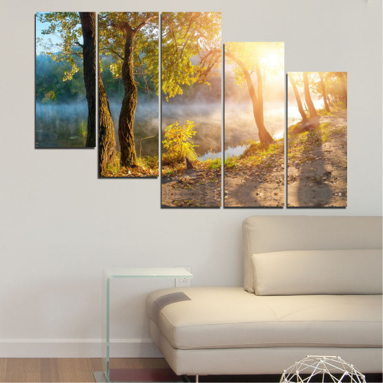 Canvas prints & wall decorative panels - 5 pieces №0379 » Brown, Black, Gray, Beige, Dark grey » Nature, Landscape, Water, Sun, Tree Form #7