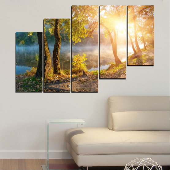 Canvas prints & wall decorative panels - 5 pieces №0379 » Brown, Black, Gray, Beige, Dark grey » Nature, Landscape, Water, Sun, Tree Form #8